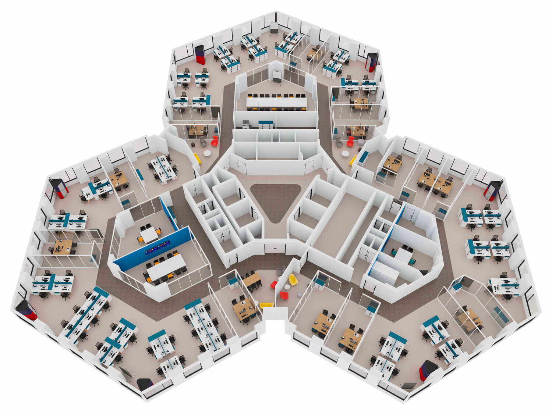 plan 3d mobilier de bureau