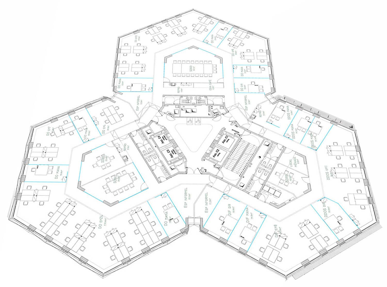 plan agencement bureaux architecte